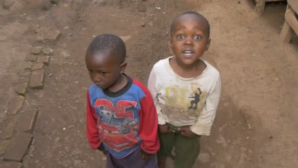 High angle view of two African children
