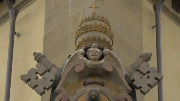 An angel decoration on a building