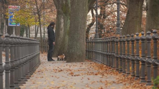 Mann geht mit kleinem Hund spazieren
