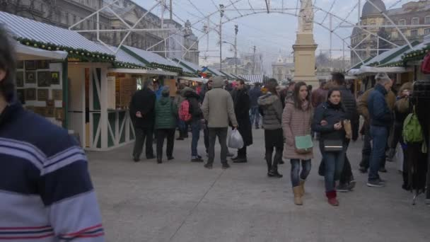 Walking by the stalls at Bucharest Christmas Market