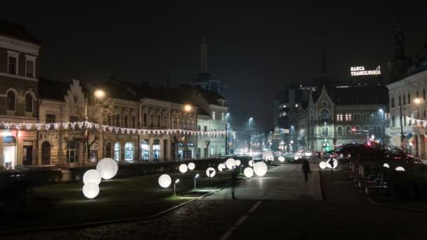 Night timelapse of Mihai Viteazu Square in Cluj-Napoca