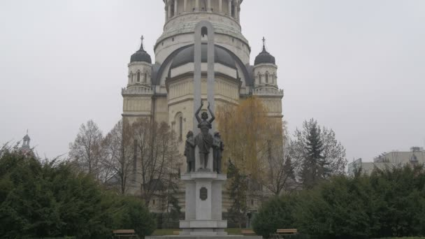 Romanian Soldier monument near a cathedral