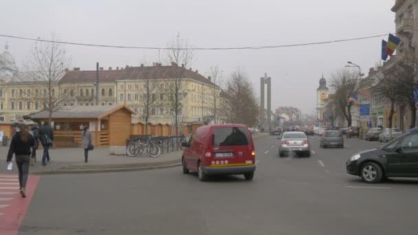 Cars driving in the city center