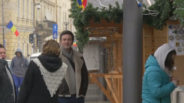 People talking at the Christmas Market