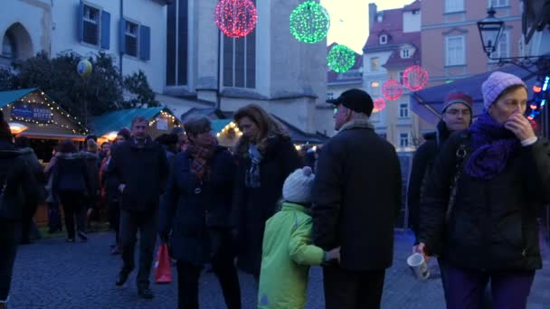 Christmas market with many visitors