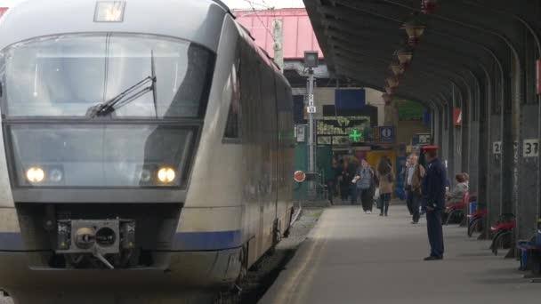 Train leaving the railway station
