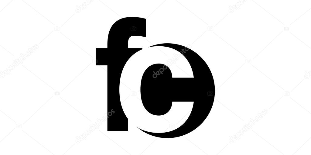 Monogram Negativee Letter Logo Fc F C Stock Vector