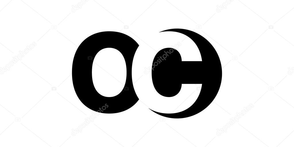 Monogram Negative Space Letter Logo Oc O C Stock Vector