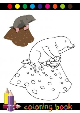 Coloring Book or Page Cartoon Illustration of Funny Mole for Children