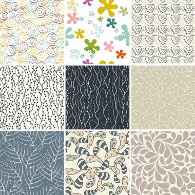 Set of nine seamless colorful floral patterns in vector (seamlessly tiling).