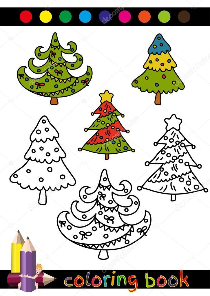 Colorear árbol libro o página de dibujos animados ilustración de ...
