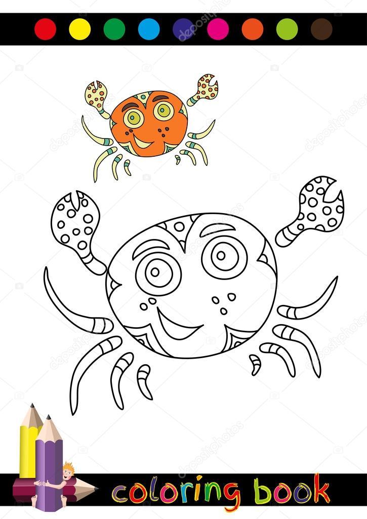 Färbung, Buch oder Seite Karikatur Illustration lustige Krabbe für ...