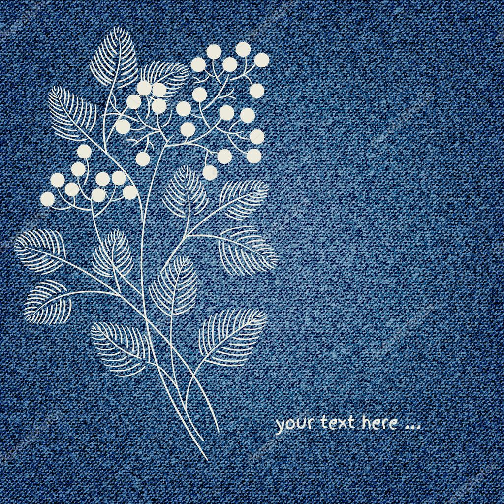 invitation card on denim background with flower  u2014 stock