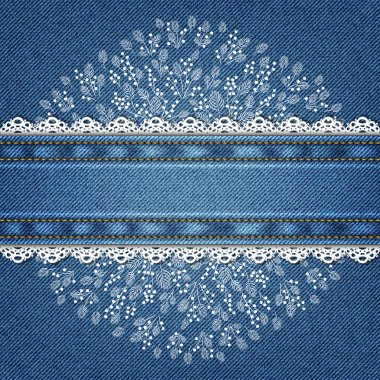 Invitation card on denim background with excellent hand-drawn ornament