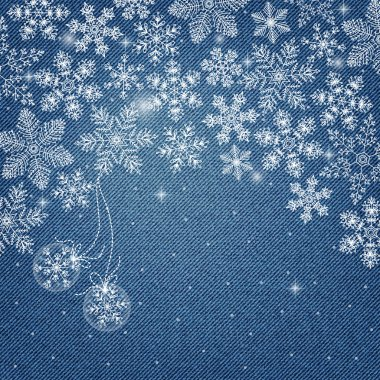 denim background with snowflakes