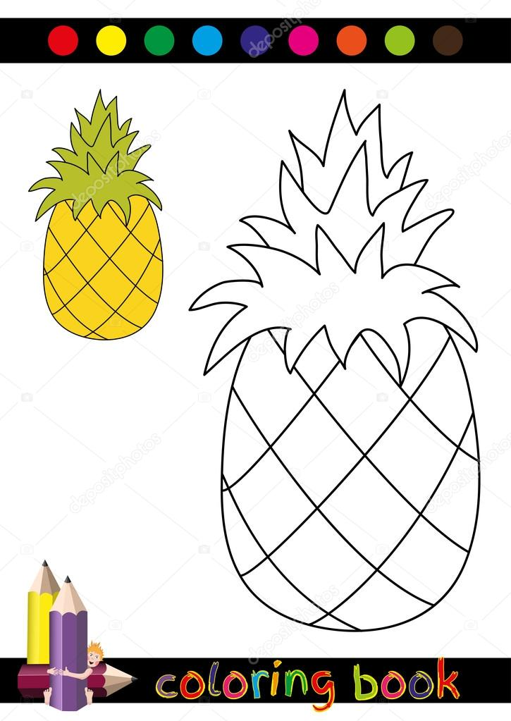 Boyama Kitabı Veya çocuklar Için Komik Ananas Sayfa Karikatür çizimi