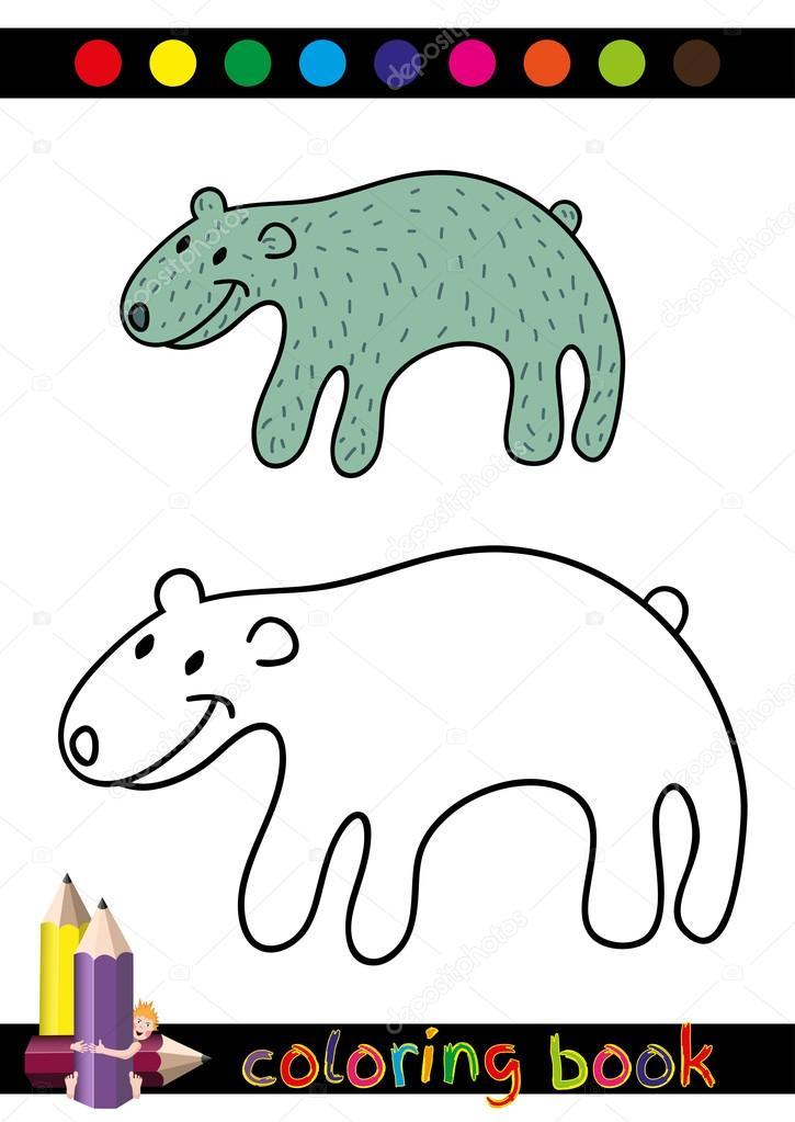 Färbung, Buch oder Seite Karikatur Illustration der lustige Bär für ...