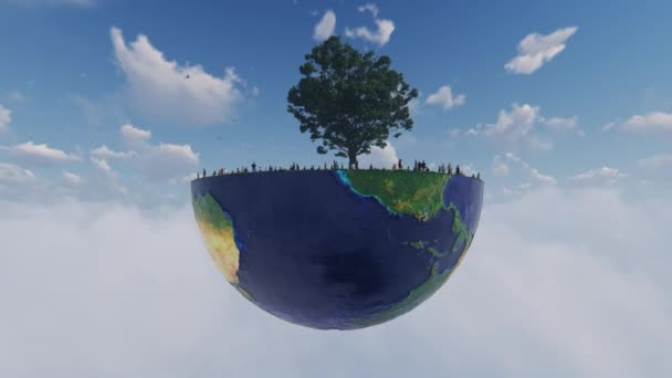 Environmental Concept, People Stranded Under Old Oak On Earth Hemisphere Above Clouds, Camera Flight