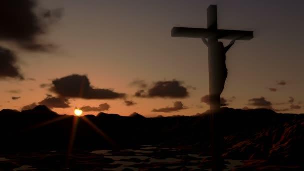 Ježíš na kříži za úsvitu