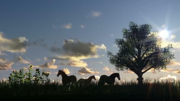 Fa, rét és a lovak