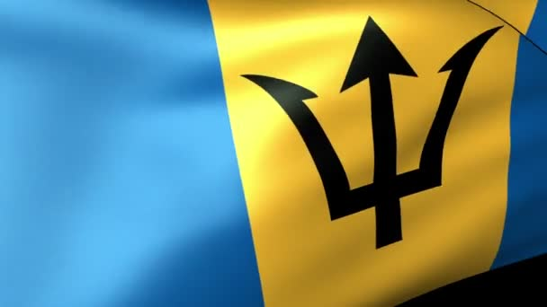 Barbados zászlót lengetve