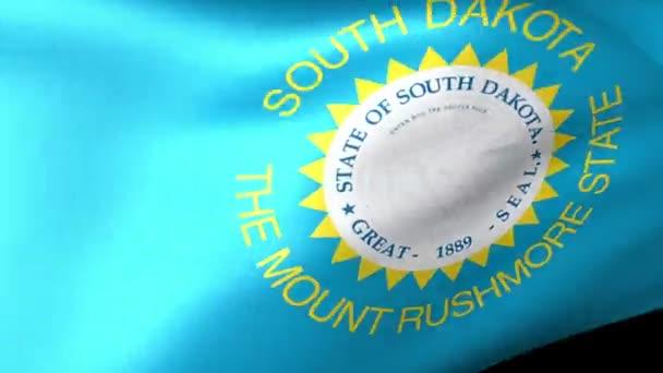 Dél-Dakota állam zászlót lengetve
