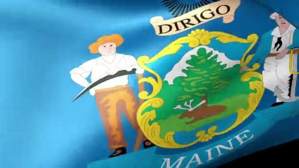 Maine State flag waving