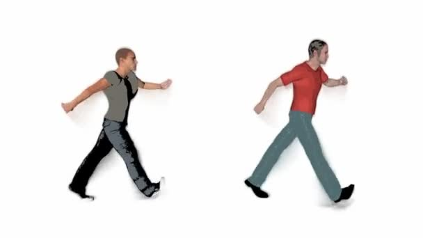 People walking on white background
