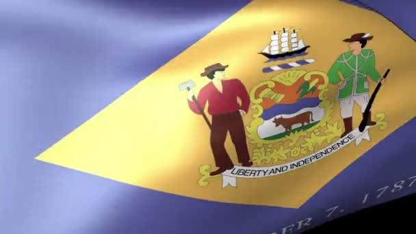 Delaware State flag waving