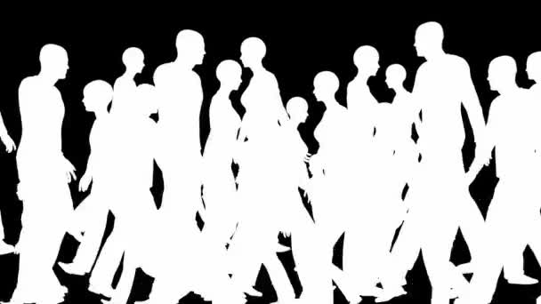 Crowd silhouettes walking