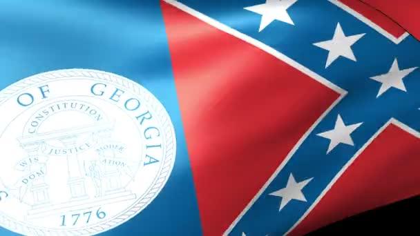 Georgia State flag waving