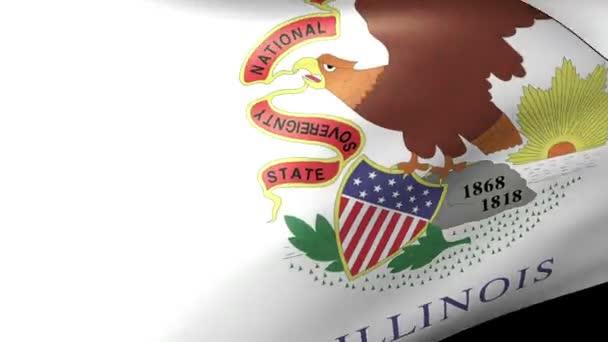 Illinois állam zászlót lengetve