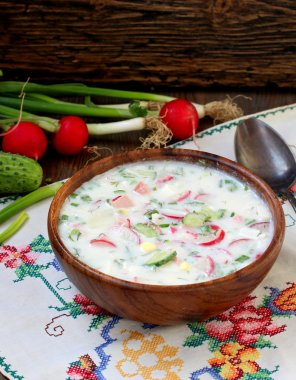 okroshka. traditional Russian cold soup