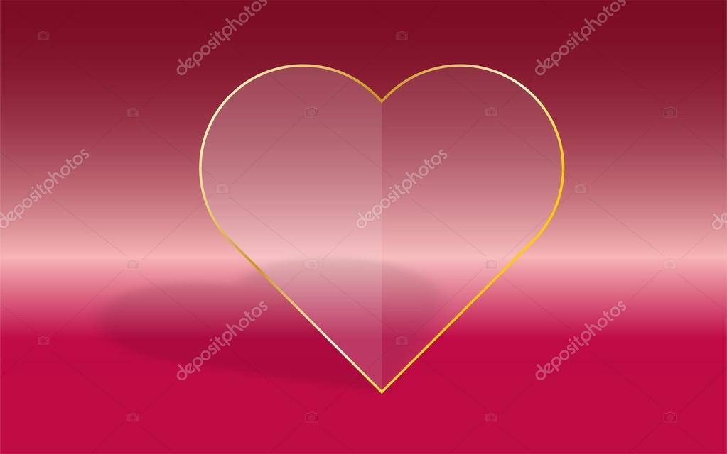 Transparente Herz mit Glasrahmen Füll- und Gold auf Rosa gradien ...