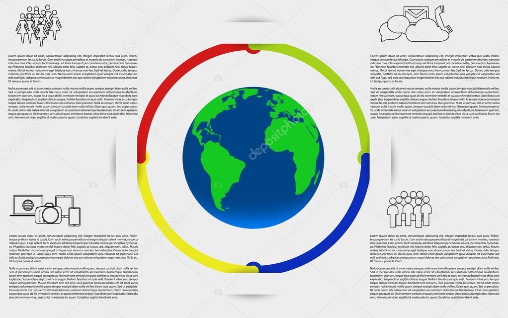 a598f863a24 Infografia com a terra. Infográfico de terra do planeta. Infográfico de  branco com mapa