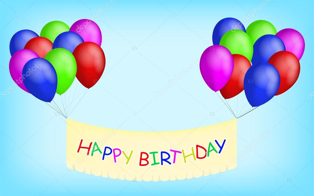 Happy Birthday Balloons With Banner Colorful Birthay Sign