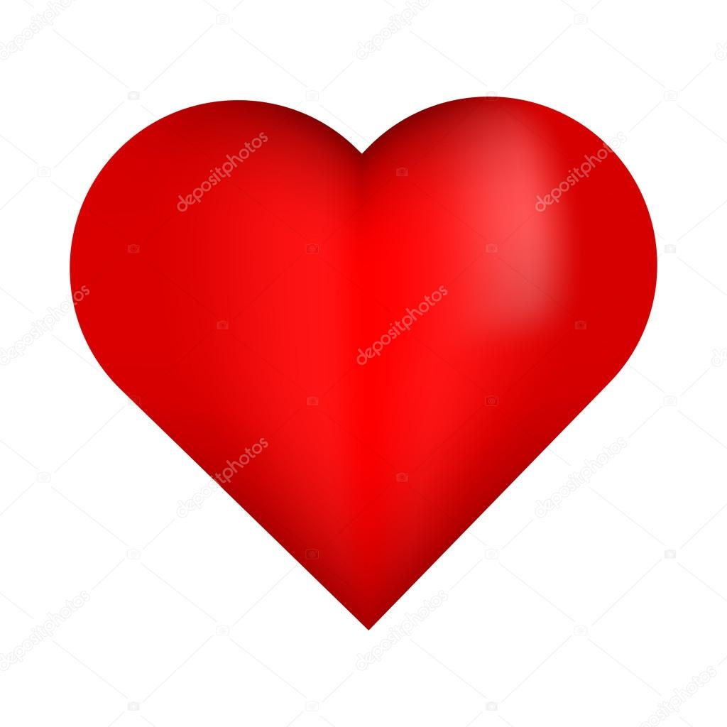 Beautiful Red 3D Heart. Red Heart. Bright Red Heart. Shiny