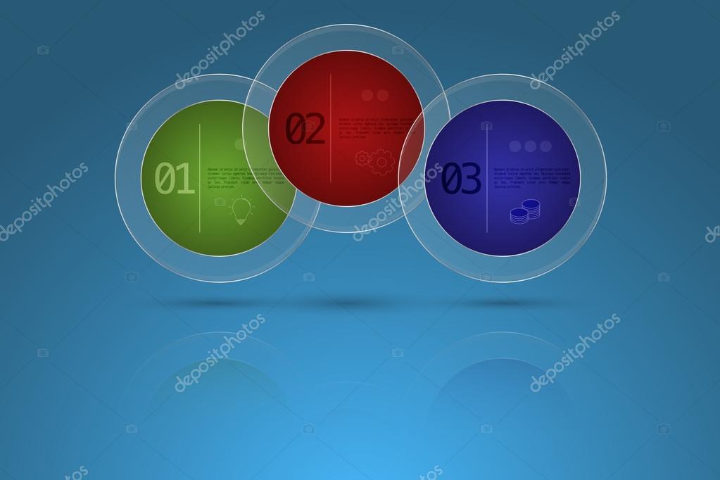 Tres pasos timeline negocios infografía en forma de círculo con ...