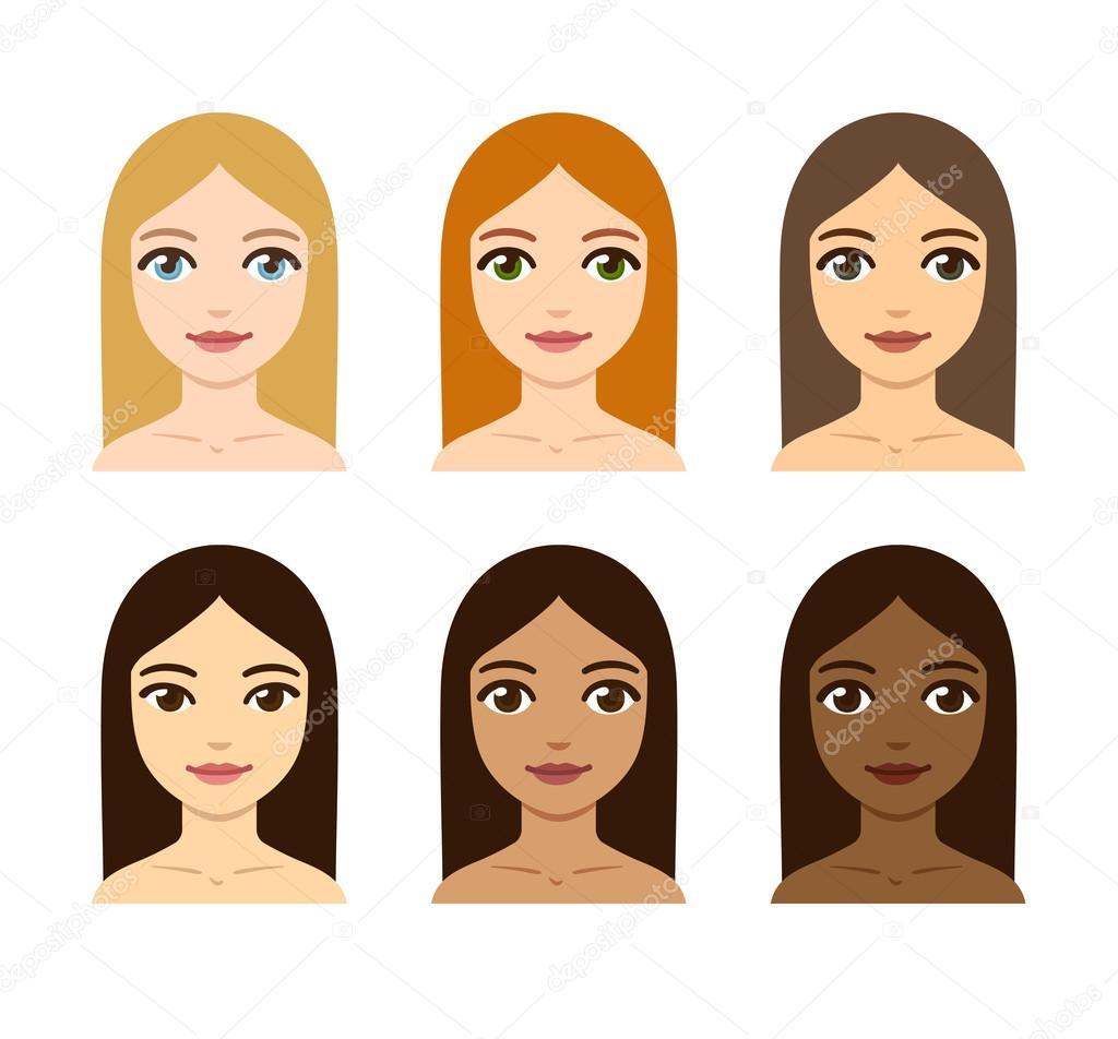 Variété De Couleur Peau Et Des Cheveux De Femmes Image Vectorielle