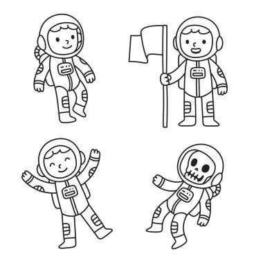 Cartoon astronaut set
