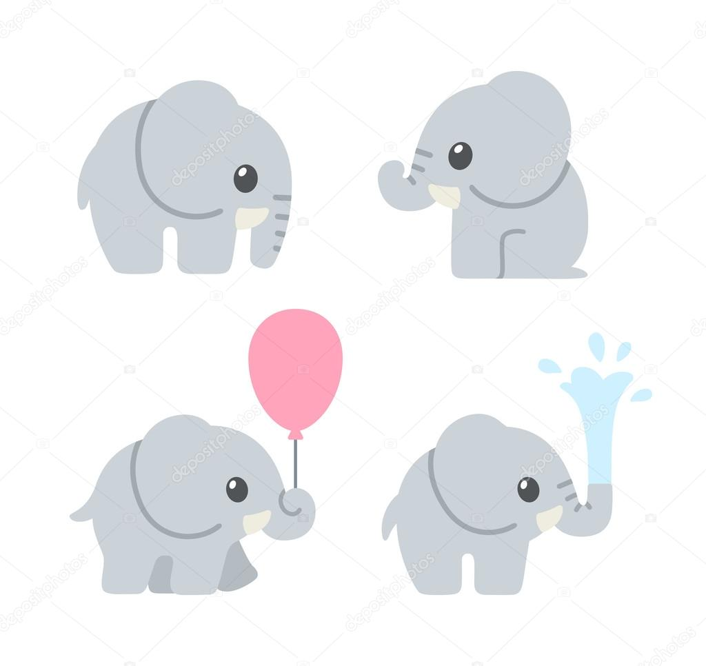 Stock Illustration Cute Cartoon Baby Elephant