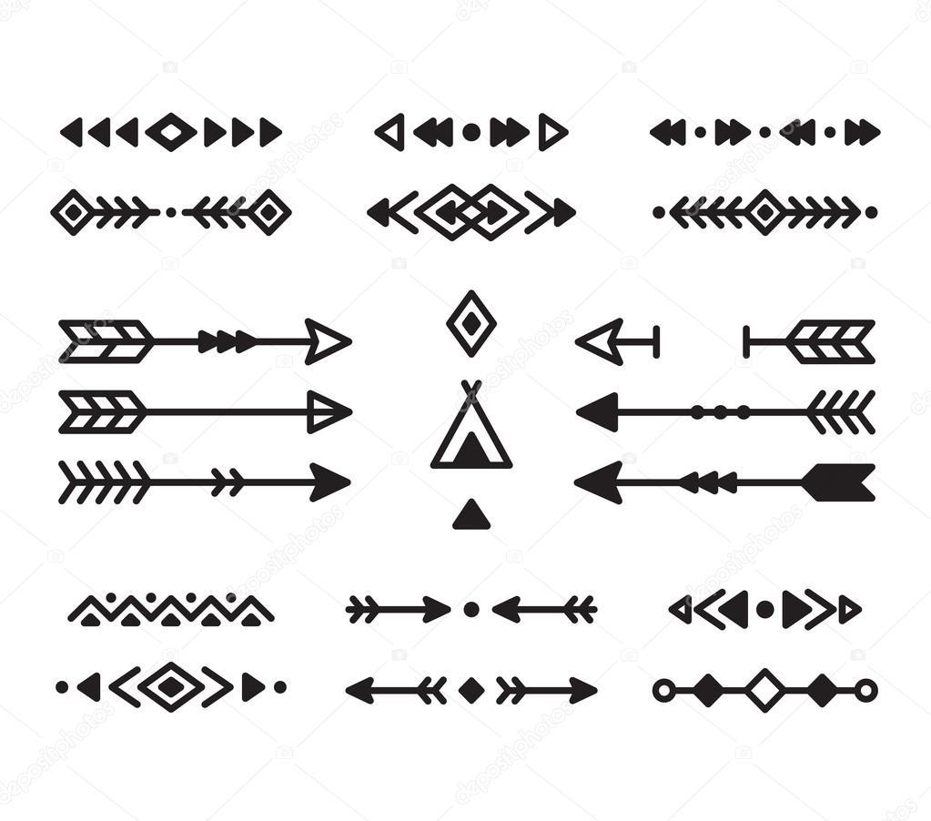 Native american designs borders | Native design elements — Stock ...
