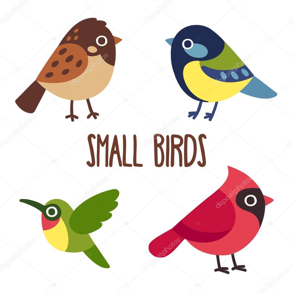 Cartone animato uccelli insieme — vettoriali stock