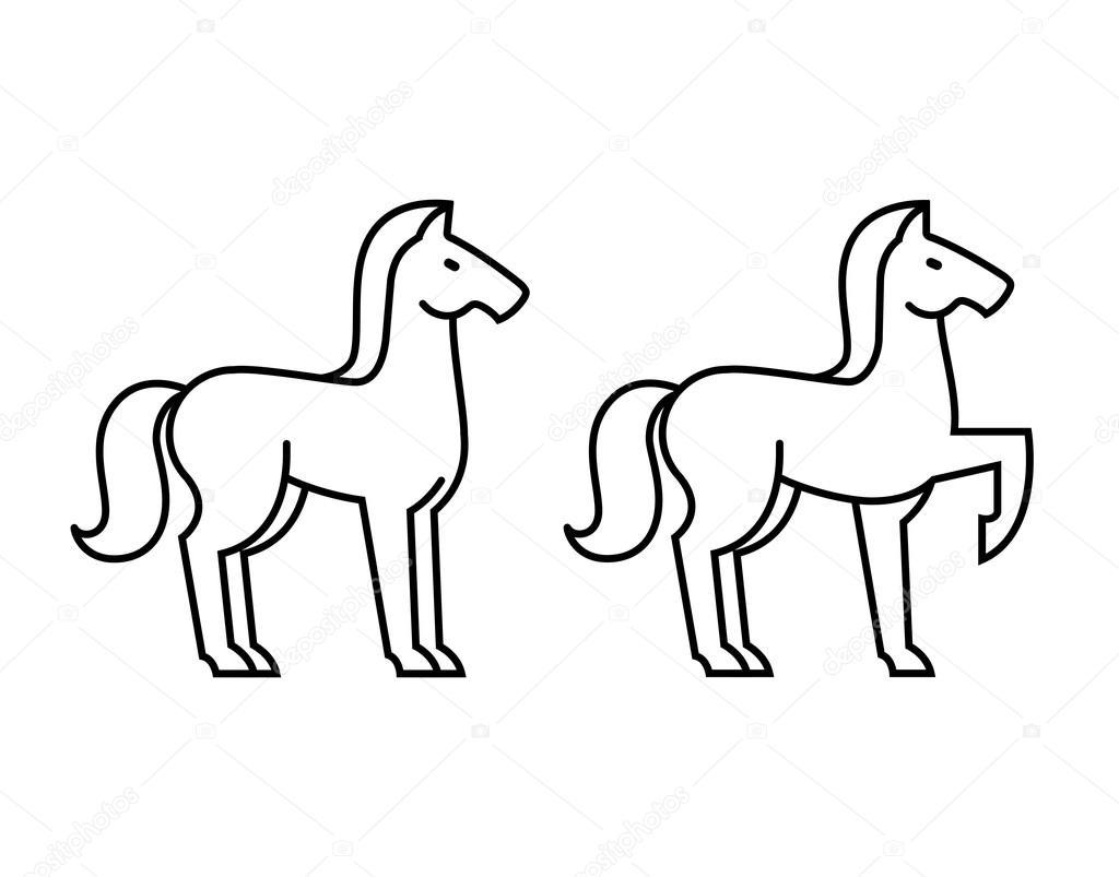 Contorno Di Cavallo Stilizzato Vettoriali Stock