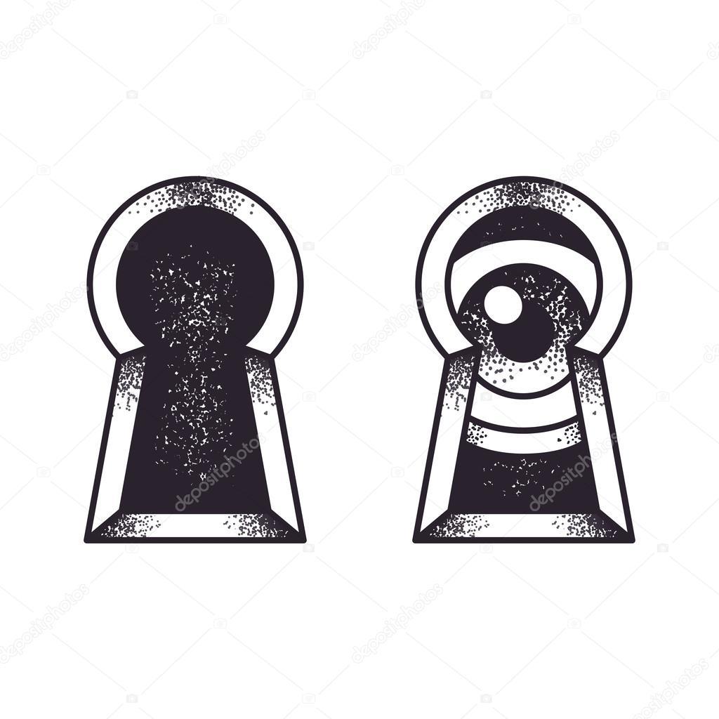 Dziurka Od Klucza Z Oczu Ilustracja Grafika Wektorowa