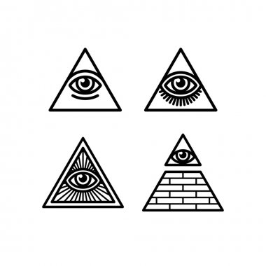 All seeing eye symbols set
