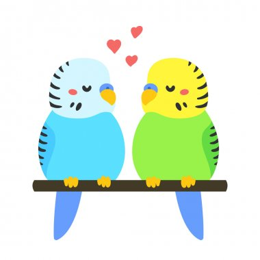 Cartoon Parakeets couple