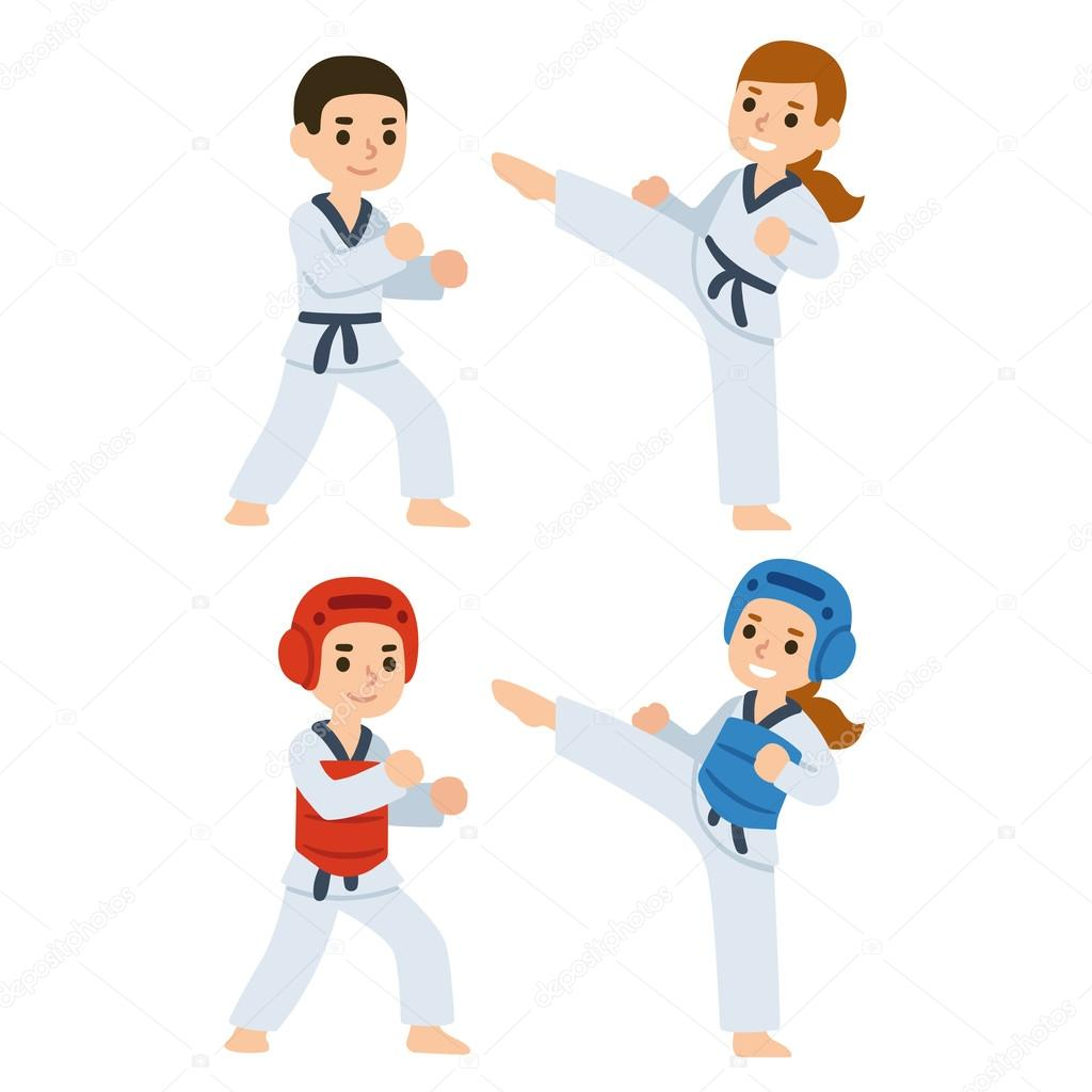 Taekwondo cartoon kids — Stock Vector © Sudowoodo #122193918