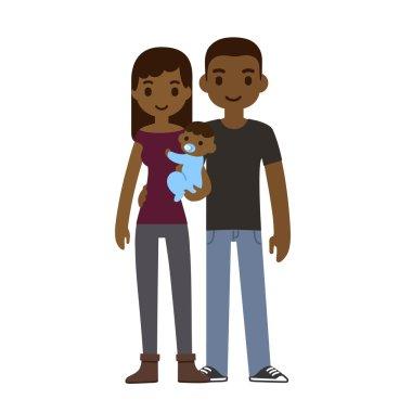 cartoon black couple holding baby