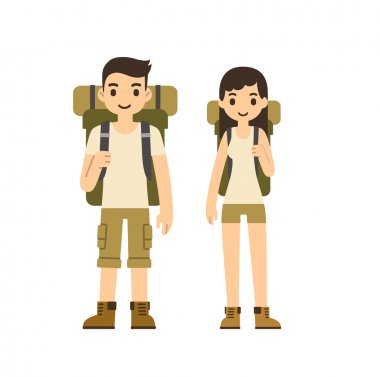 Cute cartoon couple with hiking equipment